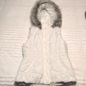 Puffer Vest with Fur-lined Hood